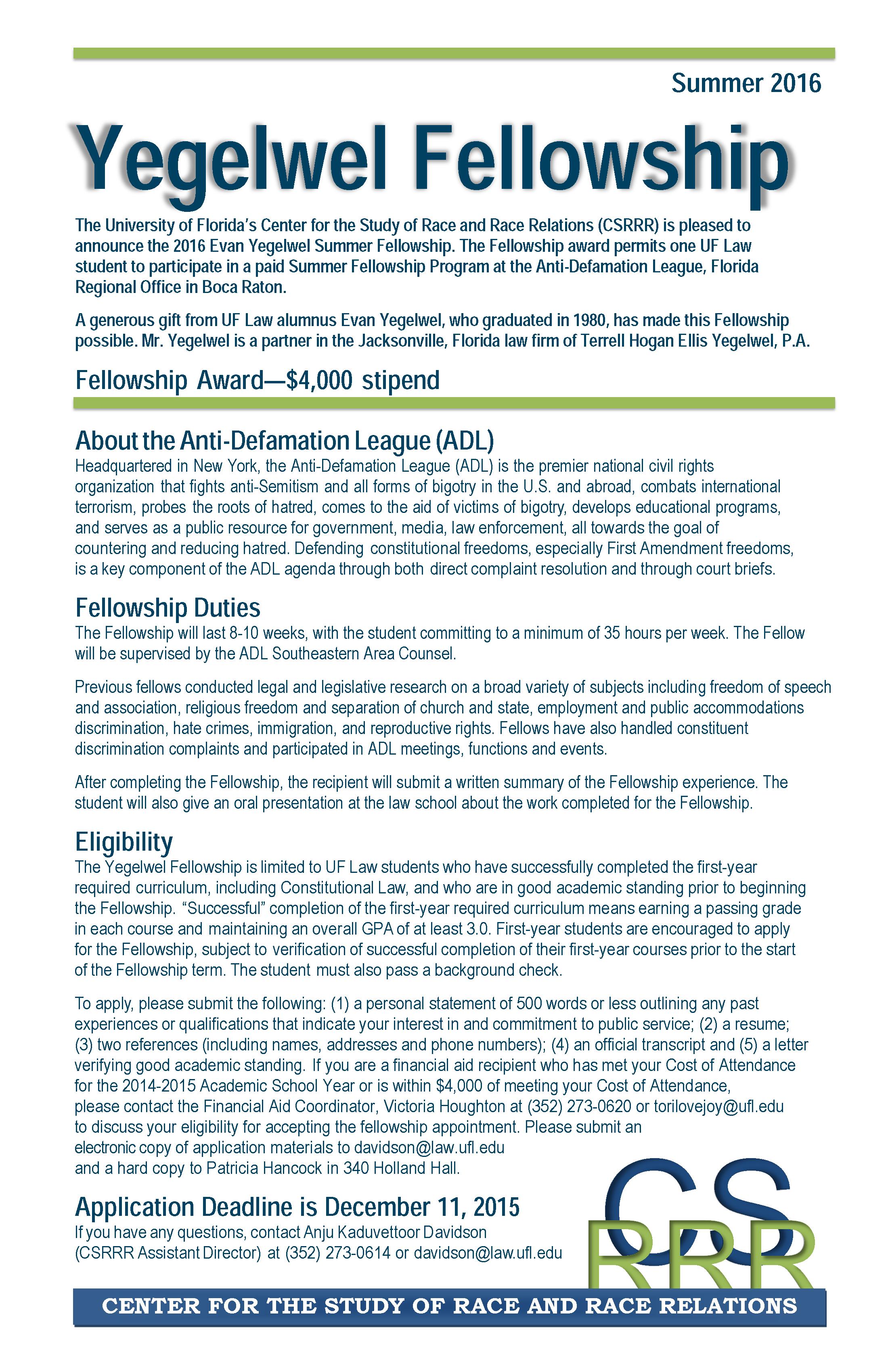 Uf Application Deadline >> Anti Defamation League Learn More Adl Summer Legal