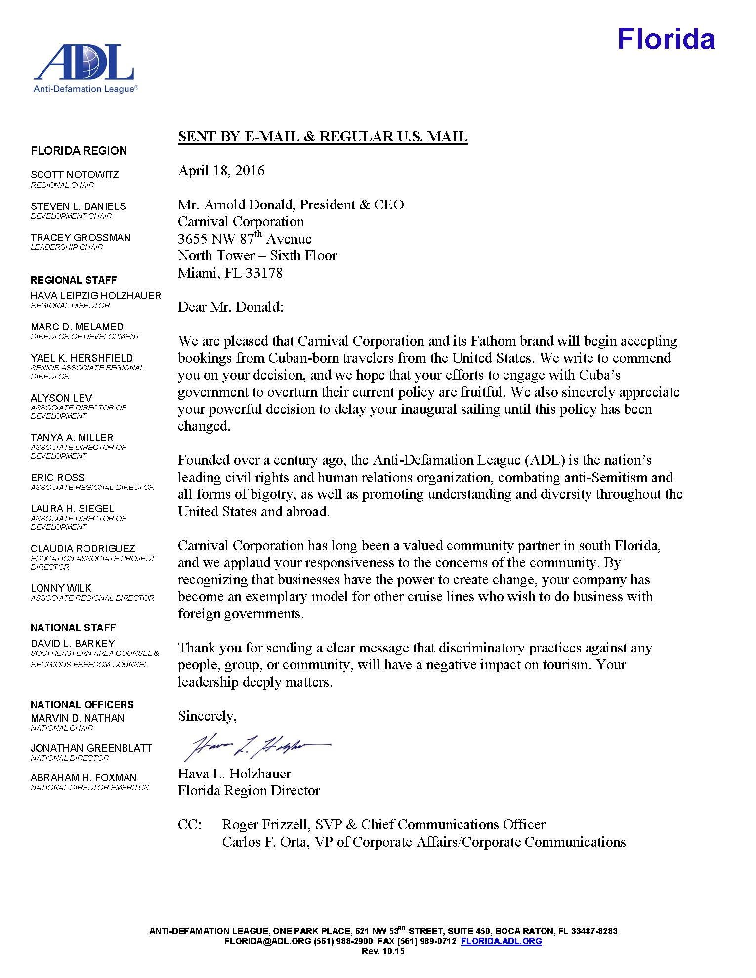 Anti defamation league adl letter to carnival corporation on adl ltr to carnival cruise line 4182016 altavistaventures Gallery